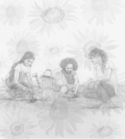 Mother and daughters planting sunflower seeds